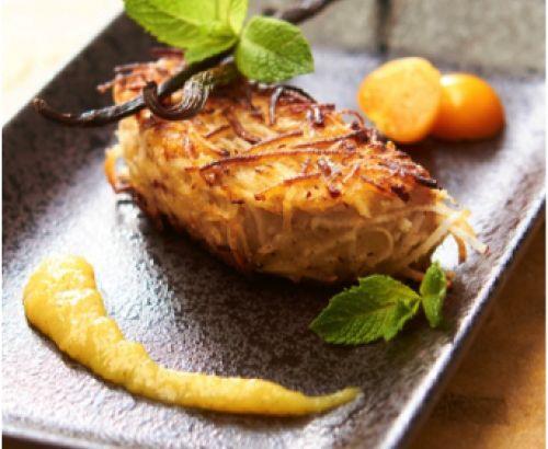 Foie Gras poêlée en croûte de noix de coco et compotée de mangue. #Recette complète, description #produit et conseils de nos #chefs sur www.feyel.com