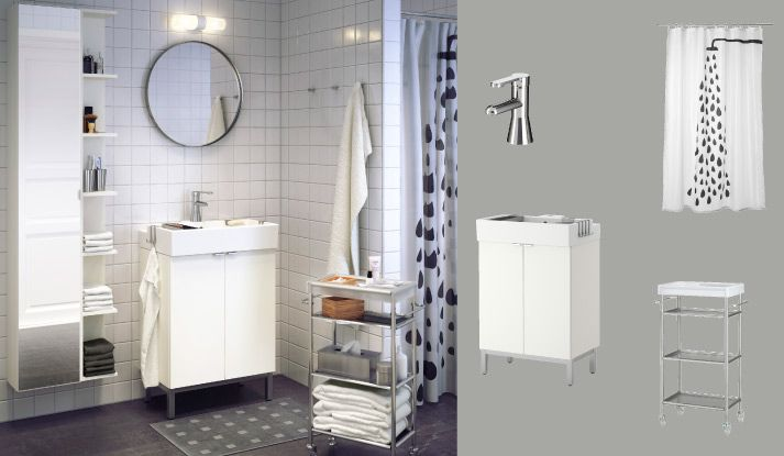 LILLÅNGEN white wash-basin cabinet with two doors and RÖRSKÄR mixer tap....Bathroom sink, cabinet and faucet, IKEA