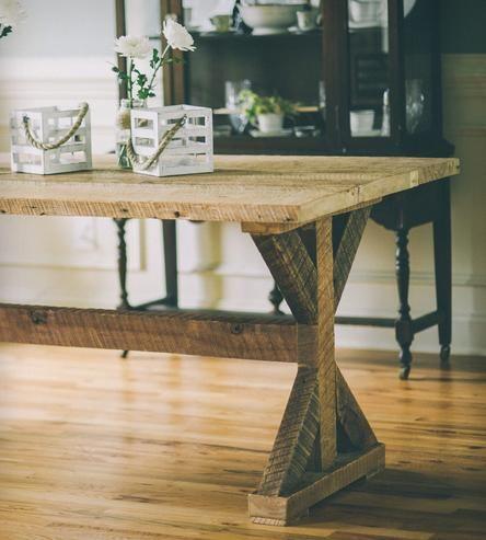 Etta Reclaimed Pine Kitchen Table | An immediate focal point, the handmade Etta Trestle Table dema... | Kitchen & Dining Room Tables
