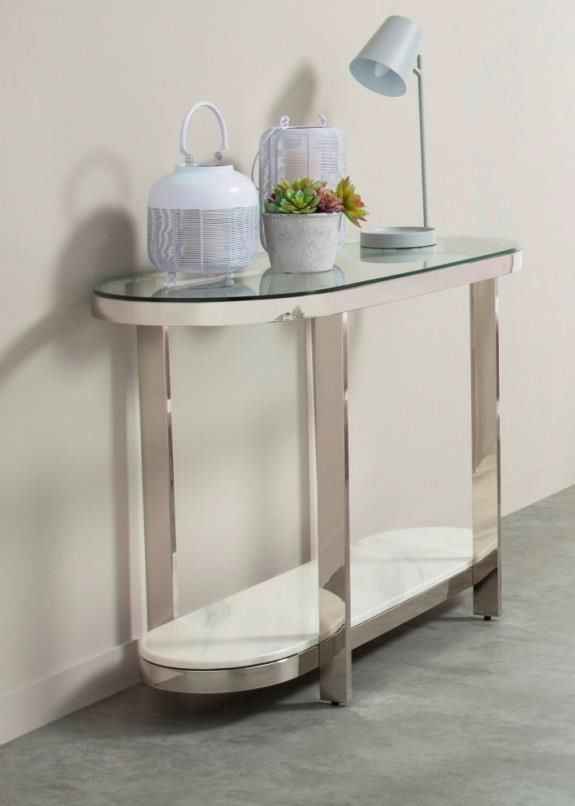 Serene Keira Console Table Glass And Chrome Table Glass Table Console Table
