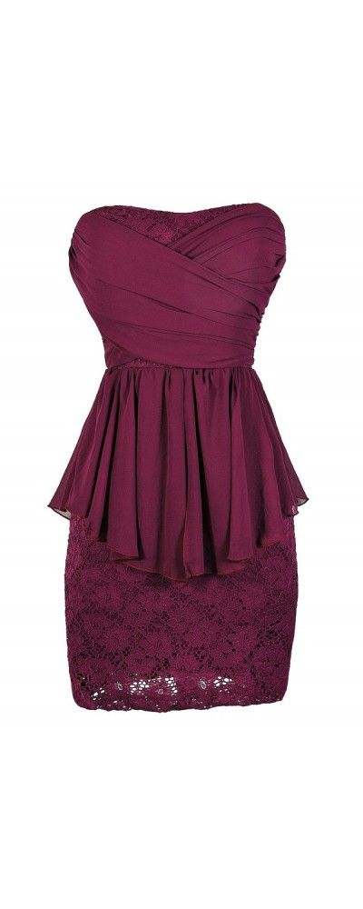 Chiffon and Lace Flowy Peplum Pencil Dress in Magenta  www.lilyboutique.com