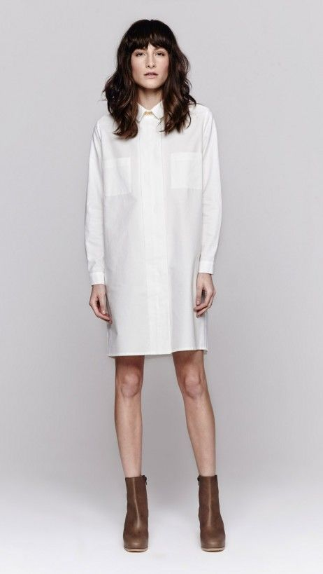 This is the crisp white shirt dress to invest in // Sophie Hulme Gold Chain Cotton Shirt Dress ($403)