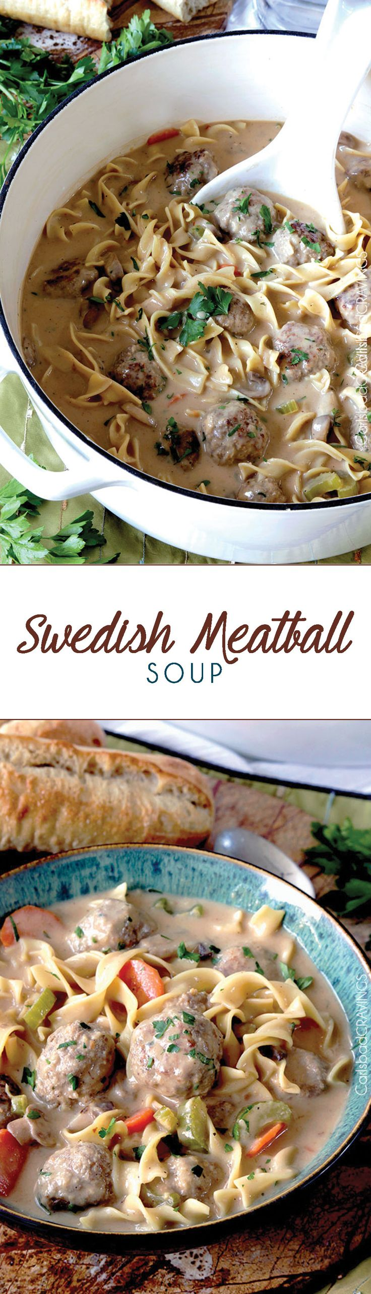 Swedish Meatball Soup -- tender, moist meatballs, hearty noodles, carrots, mushrooms and celery all swimming in luscious creamy brown gravy broth swirled with sour cream. http://www.carlsbadcravings.com/swedish-meatball-noodle-soup/