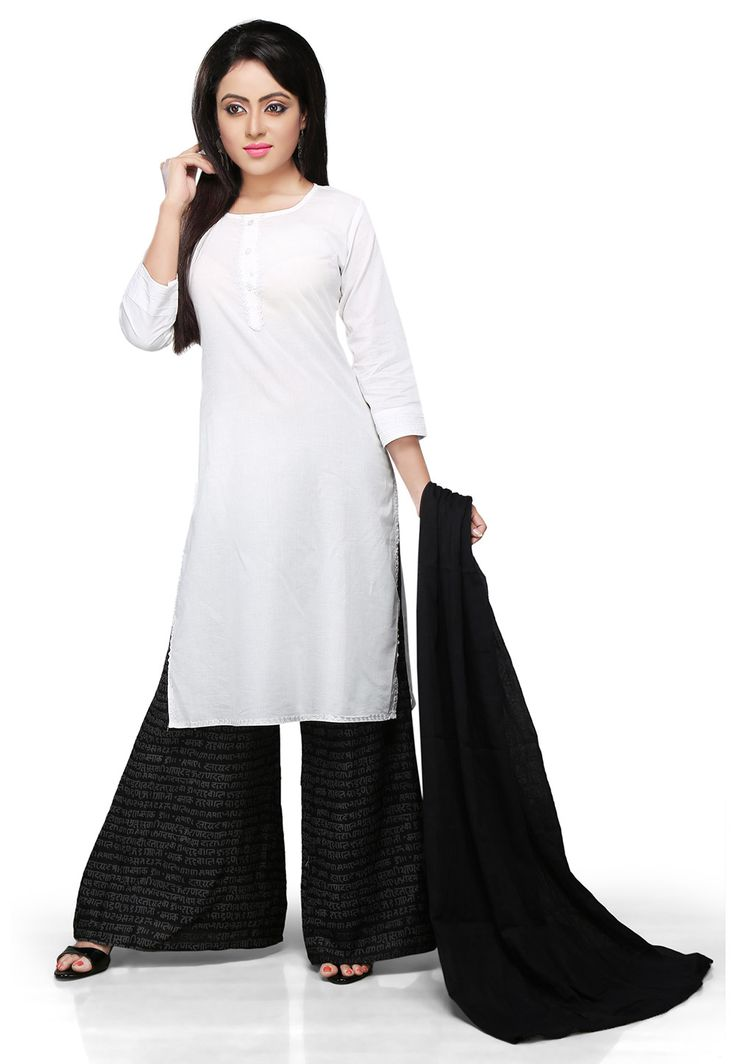 WHITE COTTON READYMADE KAMEEZ WITH PALAZZO