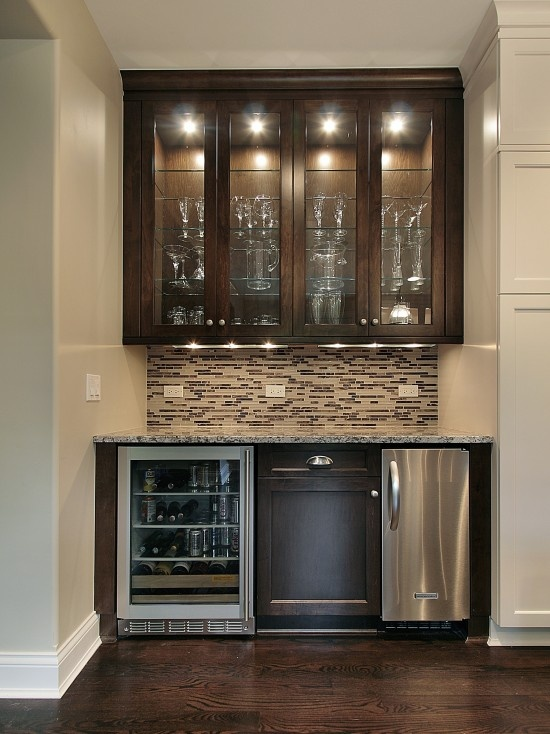 Cabinets above with storage cooler counter below would - Mini bar in house ...