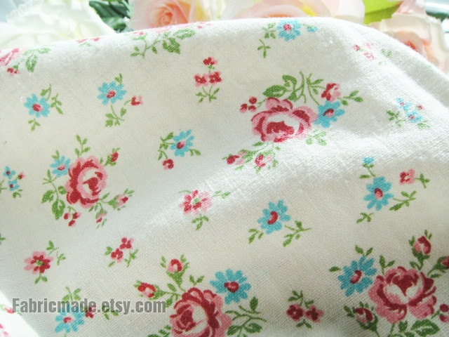 Rose Fabric Floral Linen With Shabby Chic Flower Wahsed Cotton
