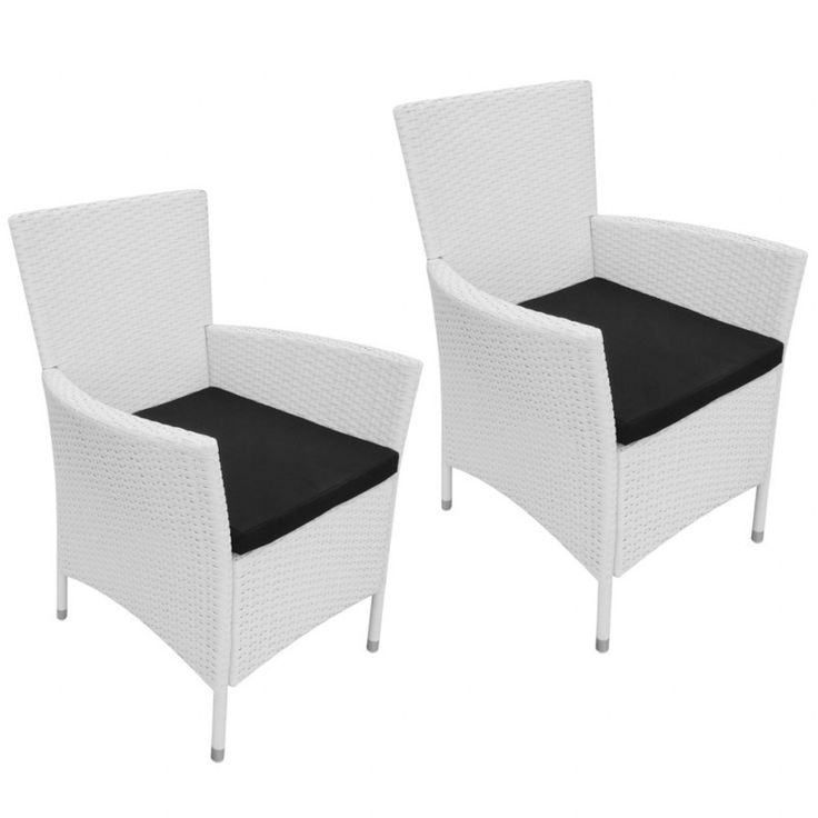 2x Outdoor PE Rattan & Steel Armchair - Cream White   Buy Outdoor Dining Chairs