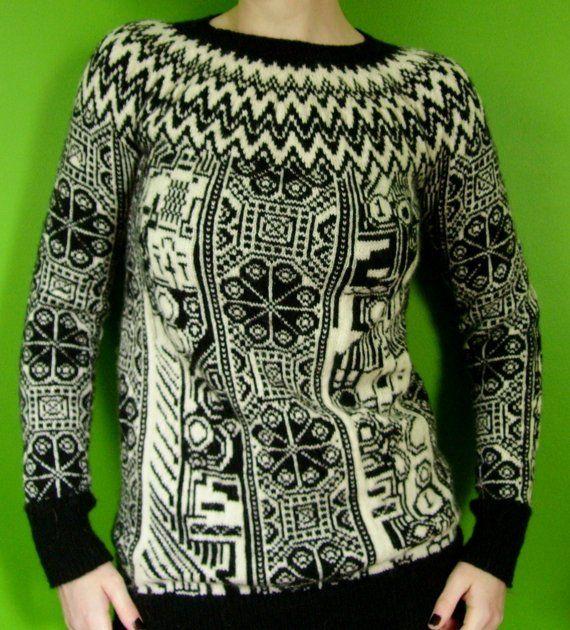 robot fairisle sweater from etsy