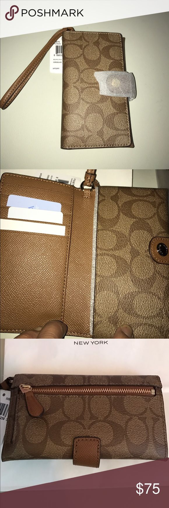 """NWT COACH Phone clutch Signature PVC Khaki/saddle This is the perfect clutch for the person on the go. FIts most smartphones (fits my IPhone 7 or Android). 5 credit card/ ID slots and has extra compartment for $$ bills. Back has a zip pocket for coins etc. I love the PVC material, it makes it harder to get it stained. Leather strap and gold hardware. Still in original packaging and only took it out to take photos. 6"""" x 3.5"""", Khaki and saddle brown Signature Coach. ❤️ this wallet. Coach Bags…"""