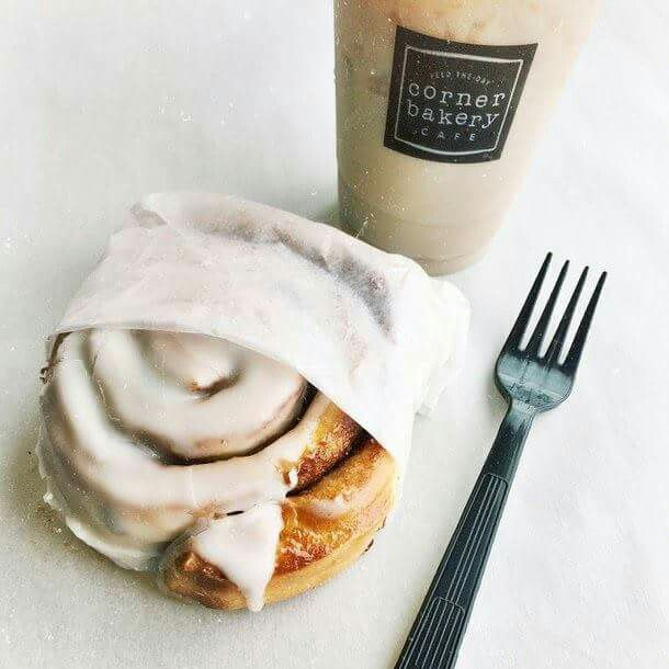Best breakfast piece of cinnamon with cup of cold coffee