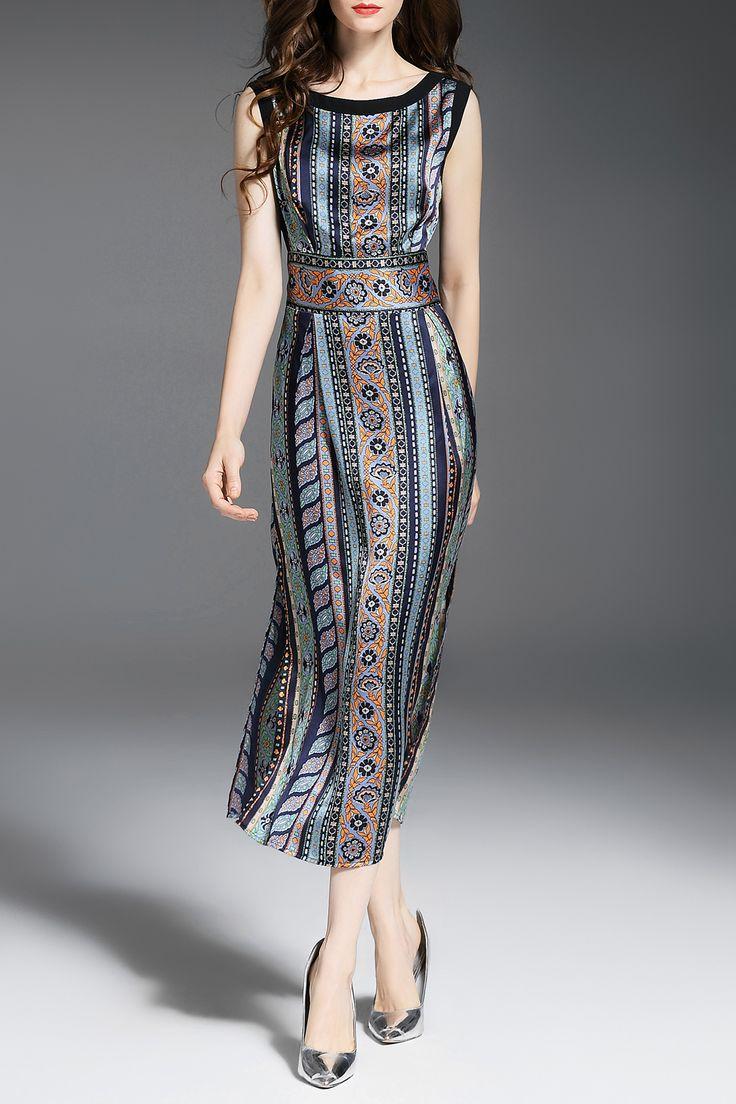 Printed See-Through Slit Midi Dress
