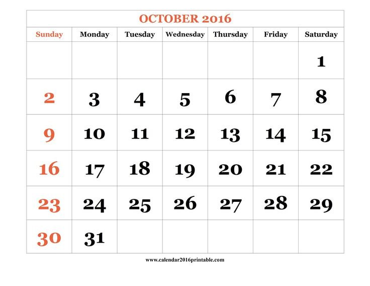 October 2016 Calendar PDF, free to download and print.
