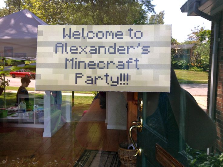 Minecraft Party Welcome Sign