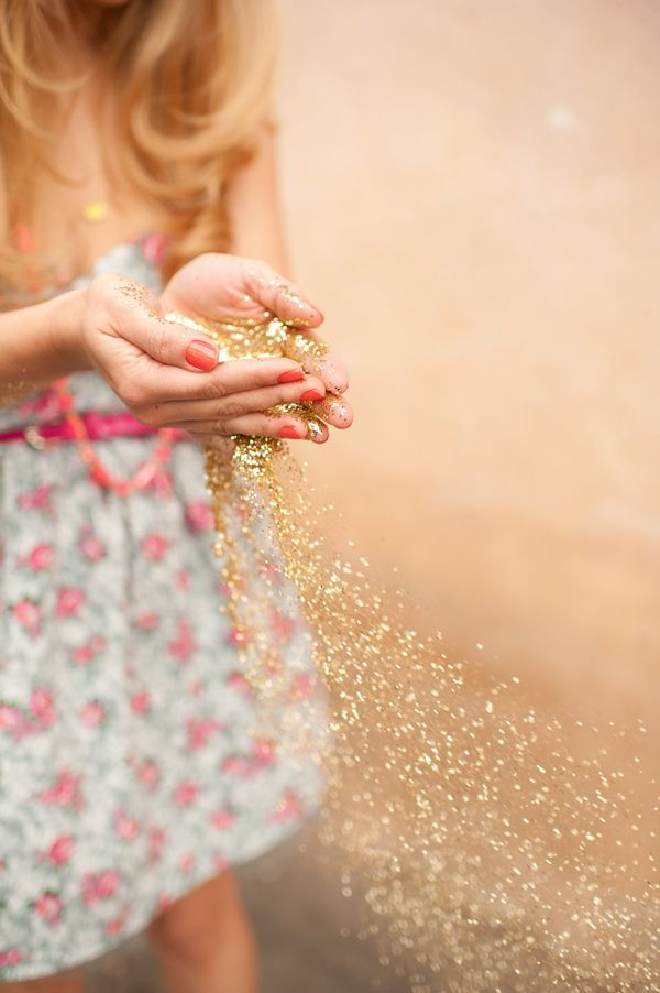 gold sparkles and a rosey dress