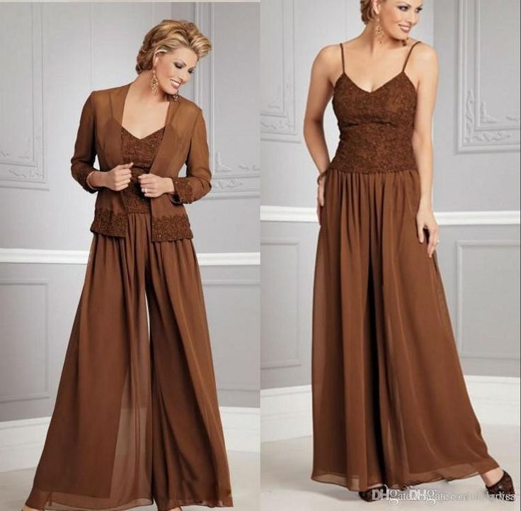 Joan Rivers Suit Brown Chiffon Mother Of The Bride Pantsuit Spaghetti Strap Lace Top For Mother Of Groom Mother Wedding Party Custom Size Bridal Pant Suits Mathar Son From Graceful_ladies, $289.01| Dhgate.Com