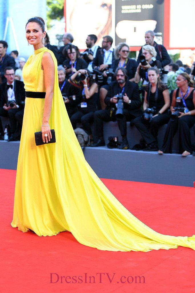 High Neck Chiffon Anna Safroncik Yellow Evening Dress 2016 Venice Film Festival With Black Sash,Venice Film Festival Dress-Carly Steel Dresses | Eliana Miglio Dresses | Naomi Campbell Dresses