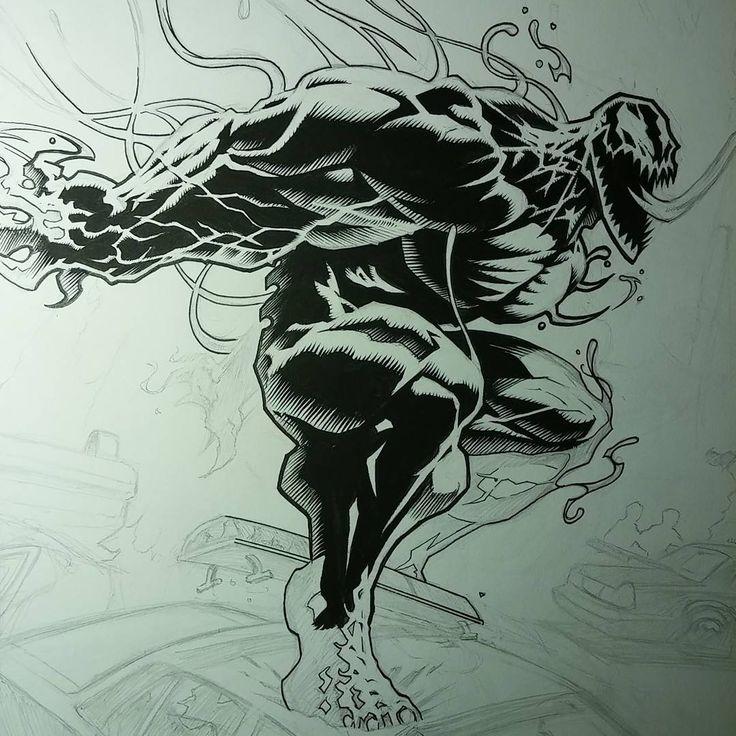 "Slight progress on ""Venom: Path of Destruction"". Hint #1: the only lighting will be from the burning cop cars. Hint #2: my version of Venom would annihilate Marvel's  #Venom #penandink #illustration #artist #HowToDrawMonsters #JerryBeck #JerryBeckArt #illustratusMaximus  #IllMaxComics #ImageComics  #DCcomics  #IDW #MarvelComics  #DynamiteComics #BoomComics #AftershockComics #DarkHorseComics #ValiantEntertainment #CarveYourOwnPath #JoeKubertSchool #comicbooks"