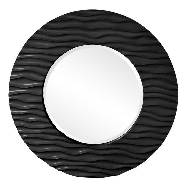 """Howard Elliott Broadway Black Round Mirror 39"""" Diameter x 2"""""""