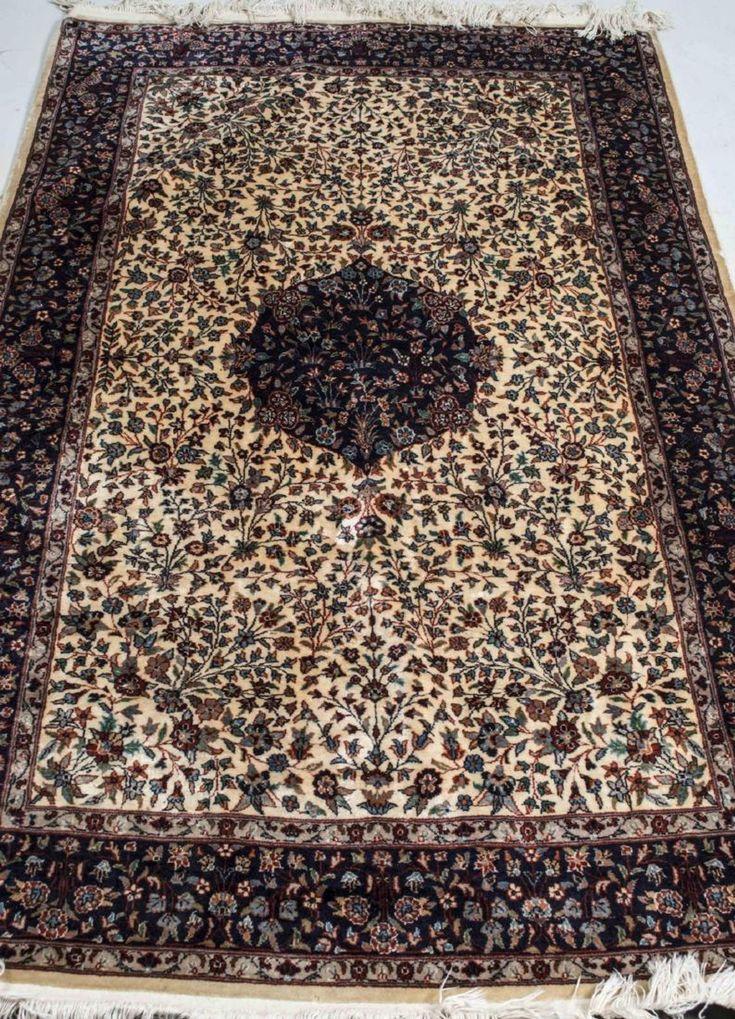 Indo-Kashan Silk Carpet