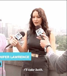 And when she volunteered to let the microphone holders' arms rest: | 21 Times Jennifer Lawrence Totally Nailed The Whole Interview Thing