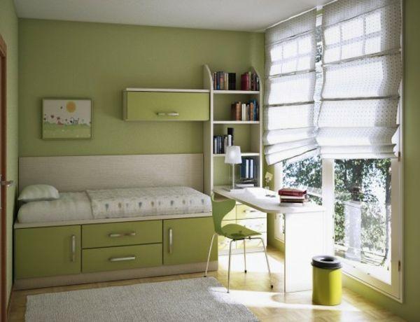 grünes Hochbett Stauraum Kinderzimmer Ideen