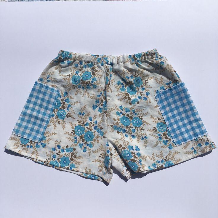 Girls shorts handmade vintage upcycled fabric children's clothing Australian made boho style vintage inspired @lueysmum  www.etsy.com/au/shop/LueysMum