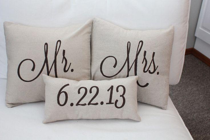 Mr. & Mrs. Custom Pillow with Wedding Date via Etsy