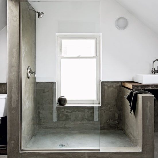 Bathroom | Concrete | Shower | Grey | Texture | White | Simple | Livingetc