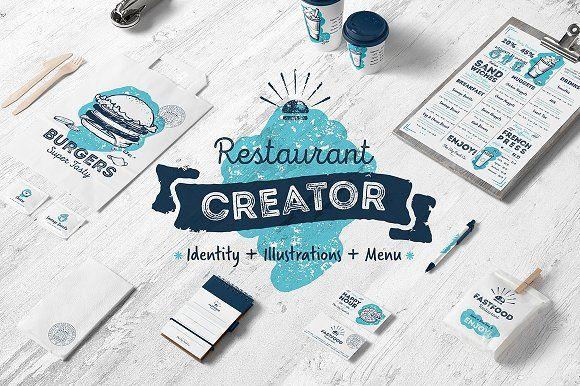 Café and restaurant identity creator by Alfazet Chronicles on @creativemarket