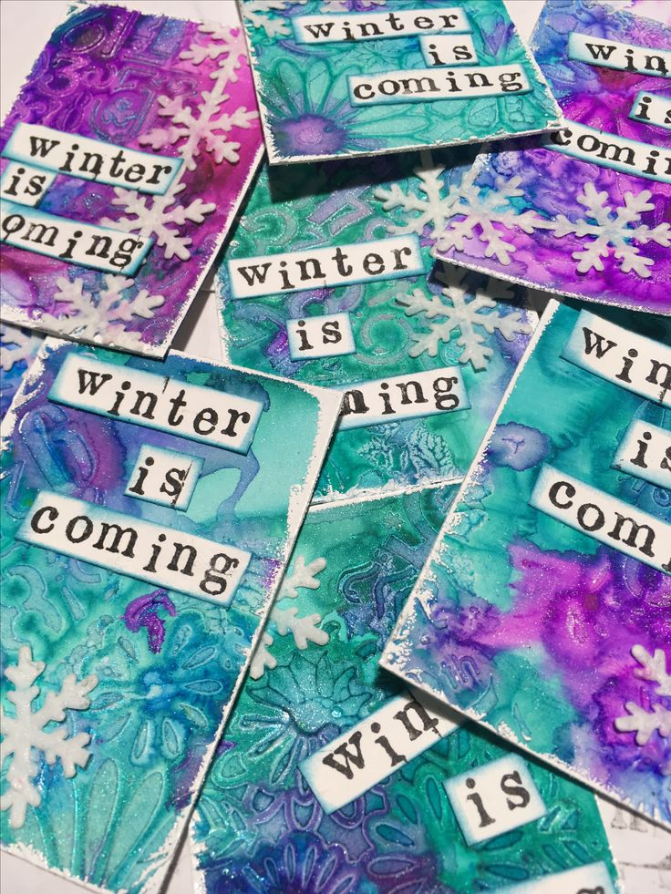Atc  hecha con Magicals de Lindis stamp gamp Winter is coming