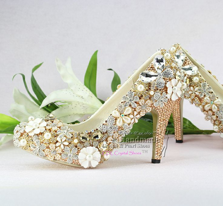 92 best Crystal Wedding Party Shoes images on Pinterest | Pearl ...