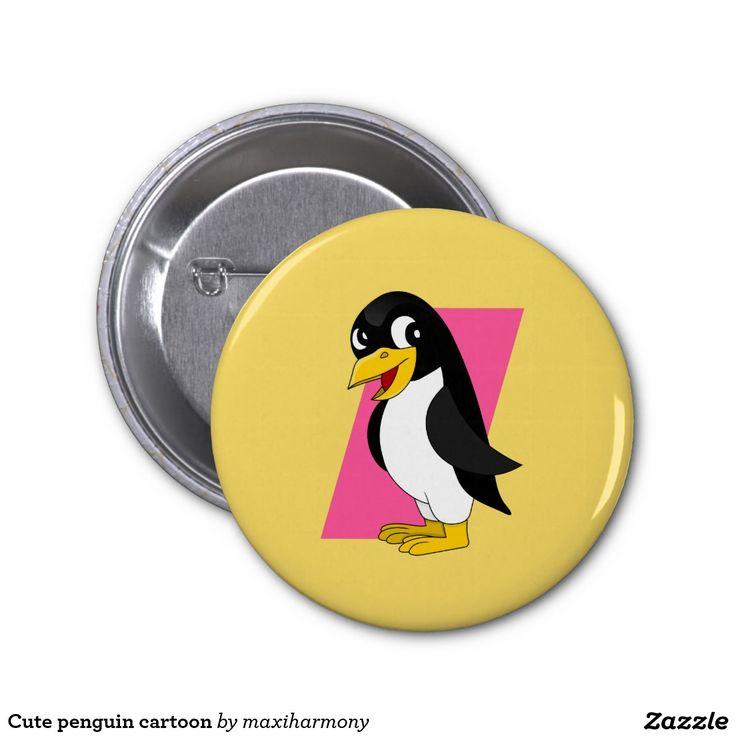 Cute penguin cartoon 2 inch round button
