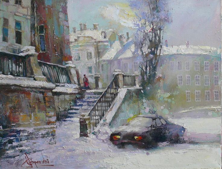 "Waclaw Sporski ""Winter Morning"" 50х65 Oil On Canvas sporskiart.com"
