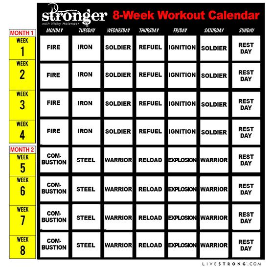 Printable 8-Week Workout Calendar and 10 Free Workout ...