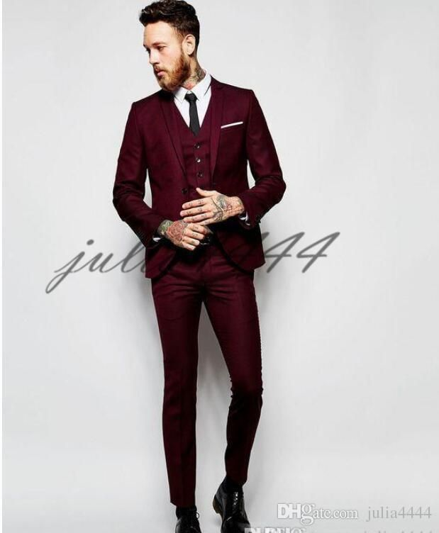 955b8c2607 Latest Coat Pants Designs Red Wine Mens Suit 2019 Prom Tuxedo Slim Fit 3  Piece Groom Style Men Suits Blazer Custom Terno