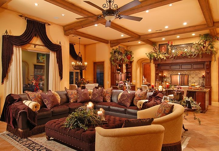 Old world tuscan living room interior design for the Old style living room ideas