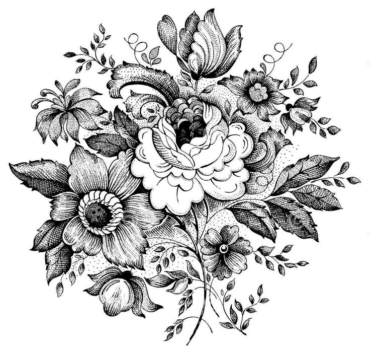 Black And White Floral Tattoo Design