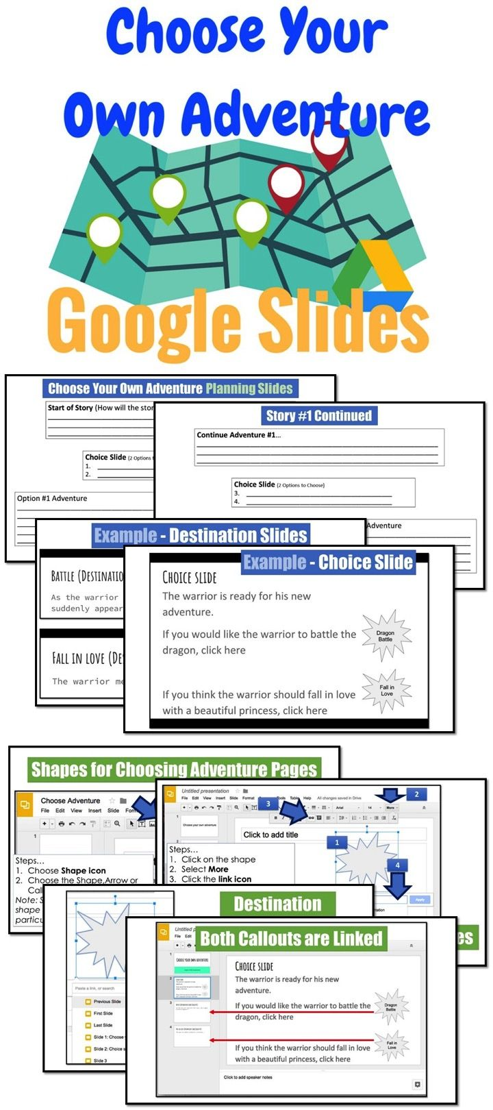 """This lesson and guide shows teachers and students how to create """"Choose Your Own Adventure"""" books in Google Slides"""