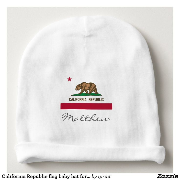 California Republic flag baby hat for boy or girl