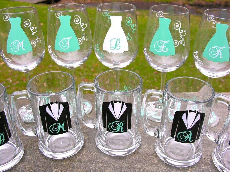 Bridesmaid wine glasses and Groomsmen beer mugs, set of 8 tiffany blue glasses.  Wedding party gift wine glasses, Maid of honor gift. $96.00, via Etsy.