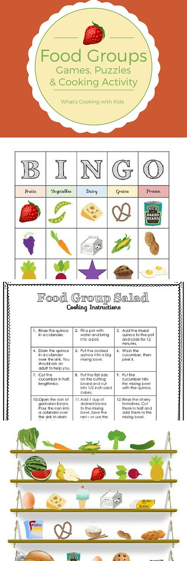 This Food Group and Nutrition Bundle contains interactive games, puzzles and sorting activities, along with a healthy recipe that will help to build vocabulary and teach life skills encourage and healthy eating habits.    Not only is this activity bundle ideal for students of all ages, but it is an excellent way to build vocabulary in ELL / ELD students and to teach Life Skills.