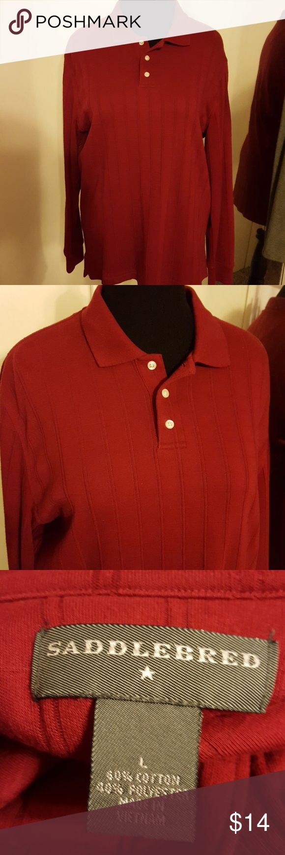 Men's long sleeve polo dark red. Dark red almost Burgundy color with grid texture pattern. Good condition. Saddlebred Shirts Polos