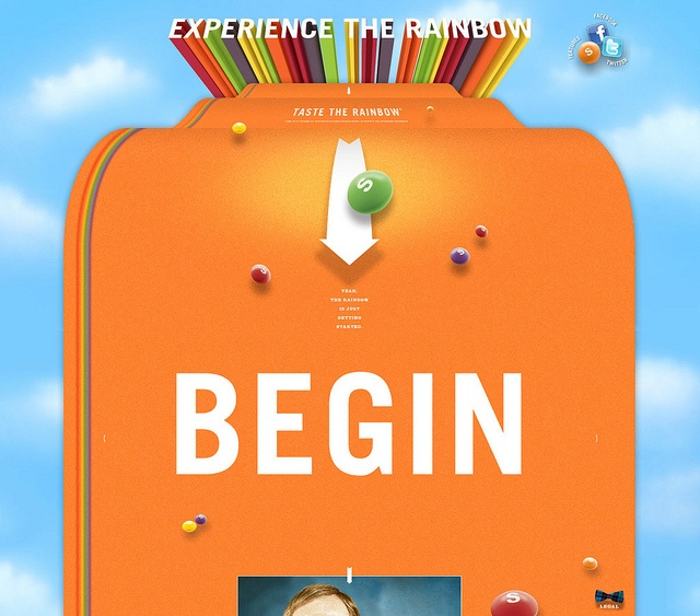 """Skittles: Experience the Raindow // """"Experience the Rainbow"""" defines the Skittles® brand presence in the digital landscape. Our plan to reach the brand's core audience takes a holistic approach, engaging the Skittles brand fans across multiple touch points including the 5 million on Facebook."""