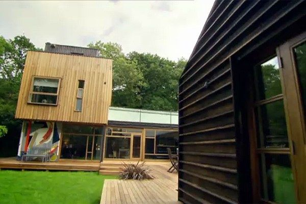 Grand designs tree house. Just watched this and love the burnt timber cladding!! You burn it and there is no need for vanishing and it's protected for 8 years! Cafe exterior?