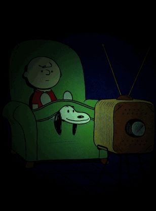 Gif Charlie Brown and Snoopy Watch TV