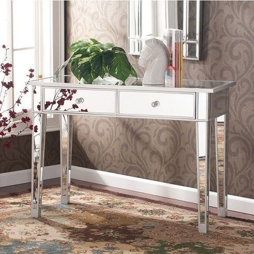 Vanity Desk Mirrored Console Table Mirror Drawers Makeup Bedroom Foyer Hallwa
