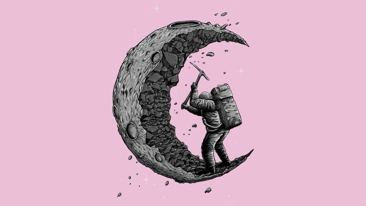 digging the moon is a T Shirt designed by fourscore to illustrate your life and is available at Design By Humans