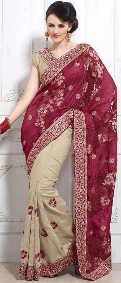 #Maroon and Beige Art #Bhagalpuri #Silk #Saree with Blouse @  $147.93