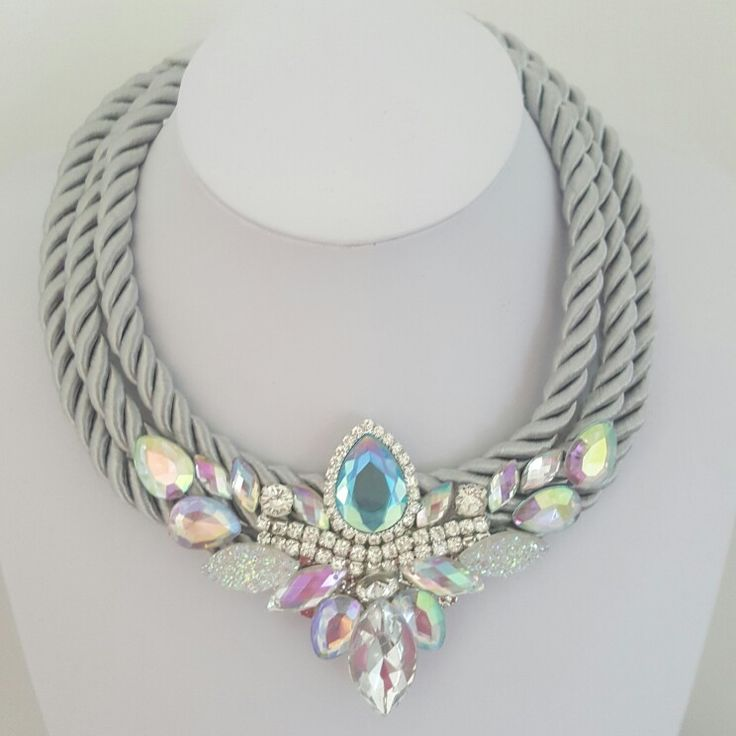 Necklace with beautiful rhinestones. By Valentina. Handmade.