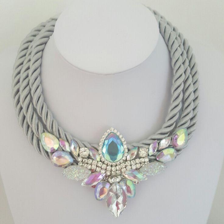 Necklace with beautiful rhinestones. By Valentina. Handmade.